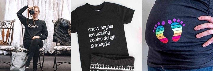 Shirt Ideas made with the Cricut.
