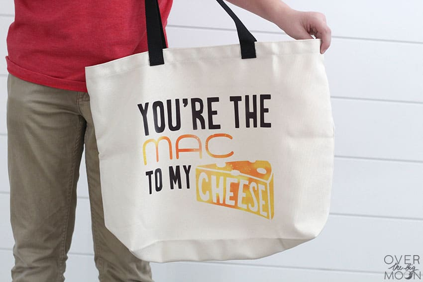 "Tote Bag made using a Cricut machine and Infusible Ink that says ""You're the MAC to my CHEESE!"""
