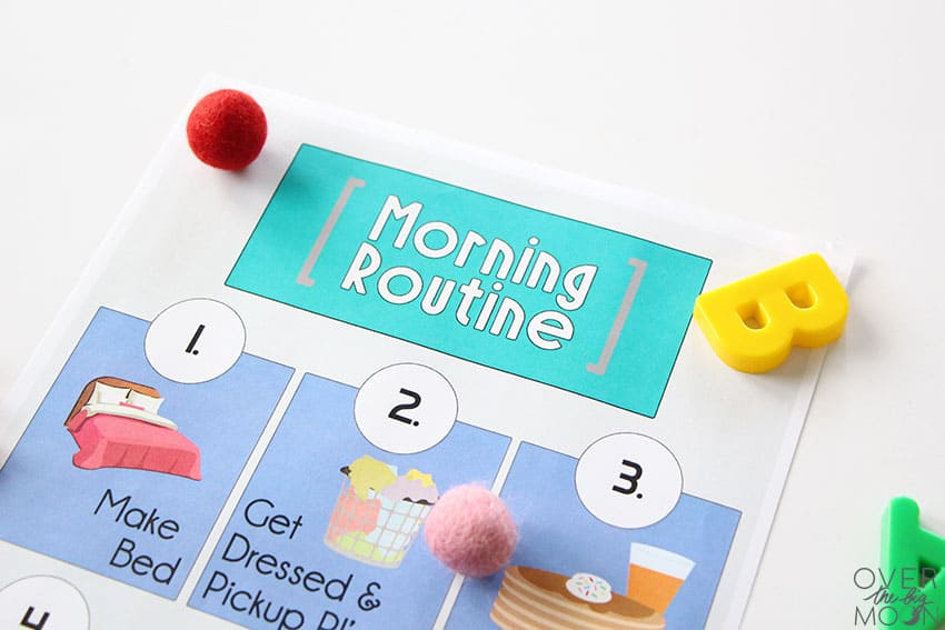Morning Routine Printable -- purple printables showing items kids need to do to get ready for bed.