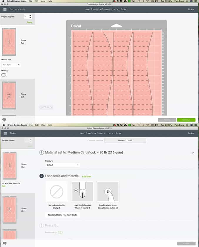Screen shot of 2 design space screens showing the design and cutting of a heart rosette.