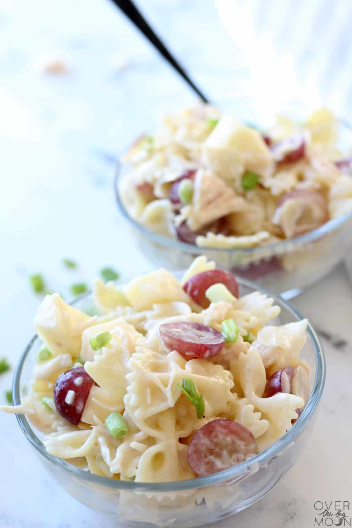 2 small bowls of Chicken Bow Tie Pasta Salad