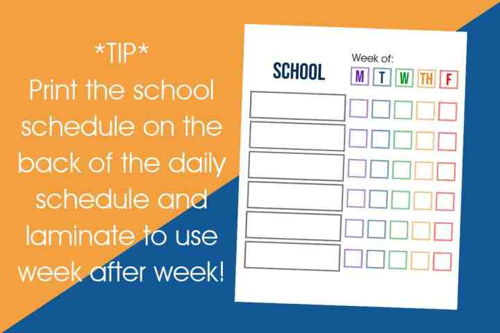 A printable daily school schedule that has 6 spots and checkboxes to check off each school day of the week.