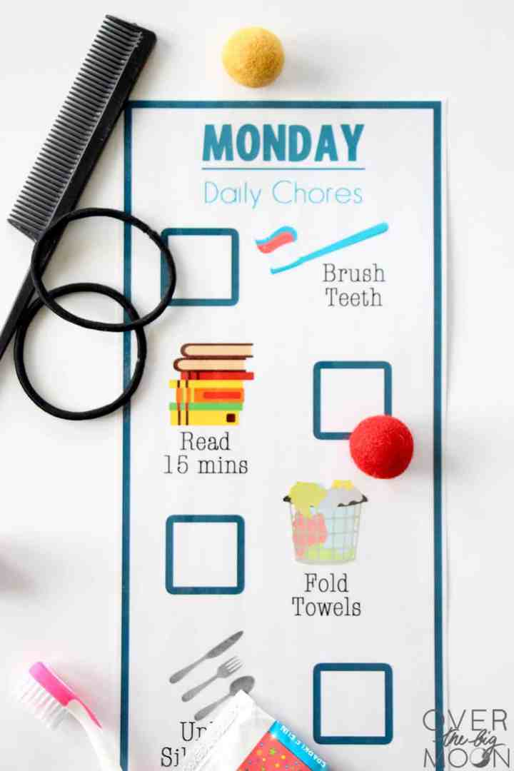 A Monday Chore Chart with chores for young kids.