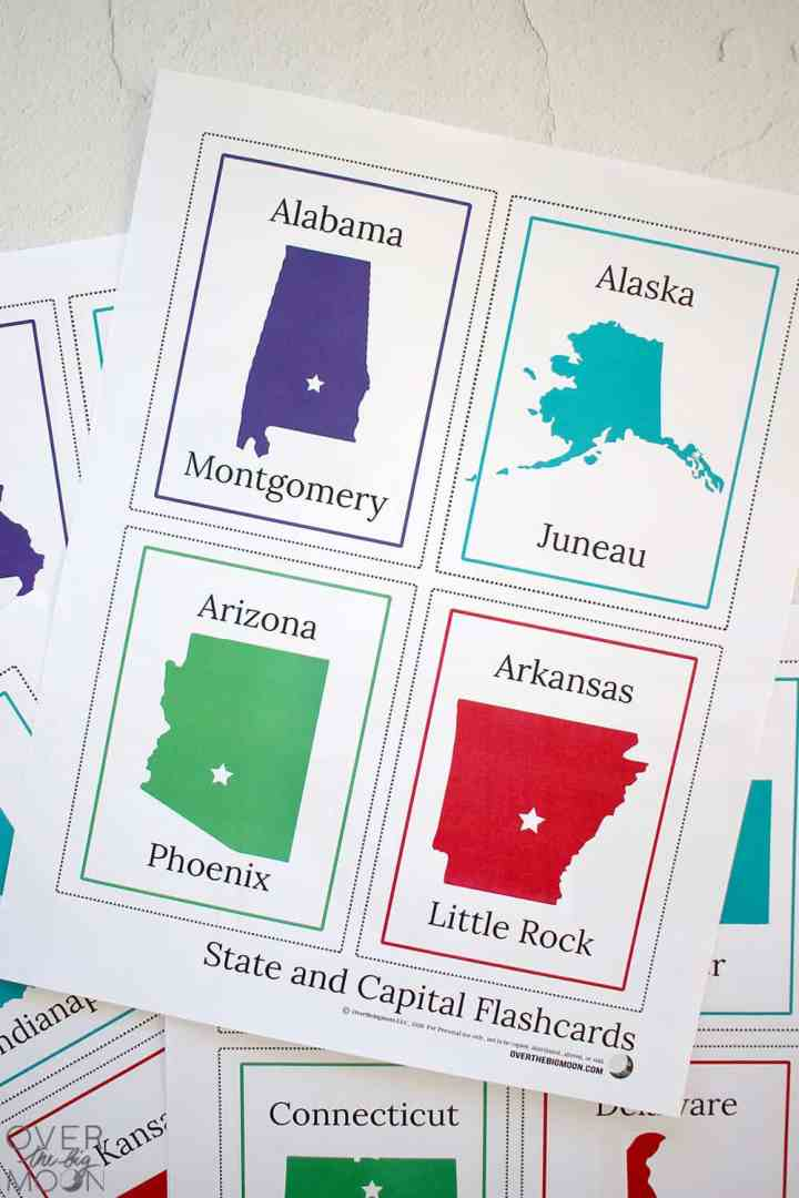 A close up picture of one page of flashcards showing Alabama, Alaska, Arizona and Arkansas states and capitals information.