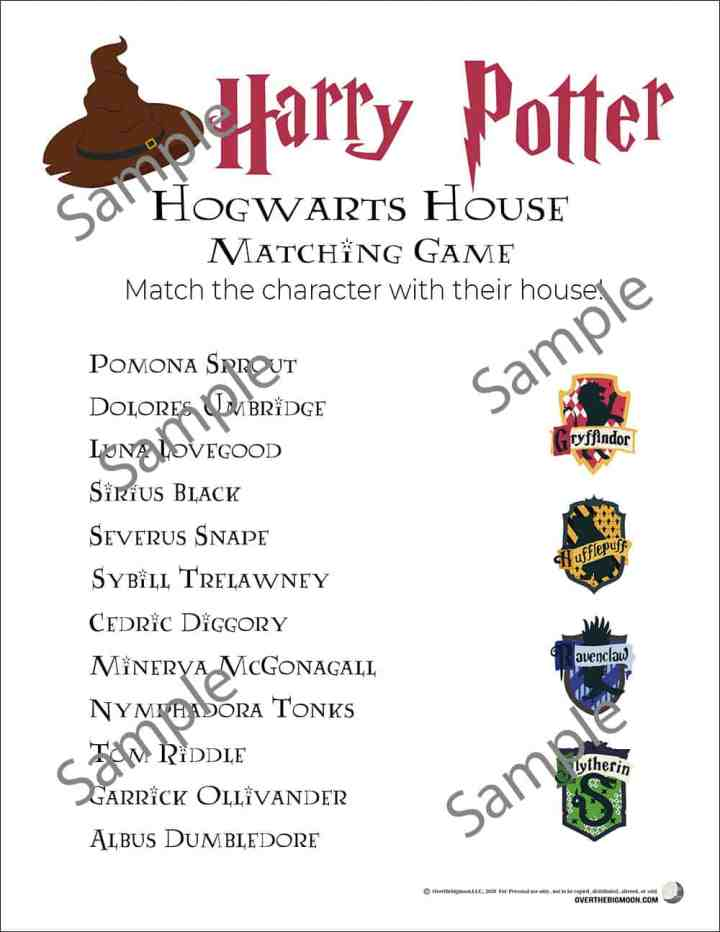Sample of the Harry Potter Hogwarts House printable game.