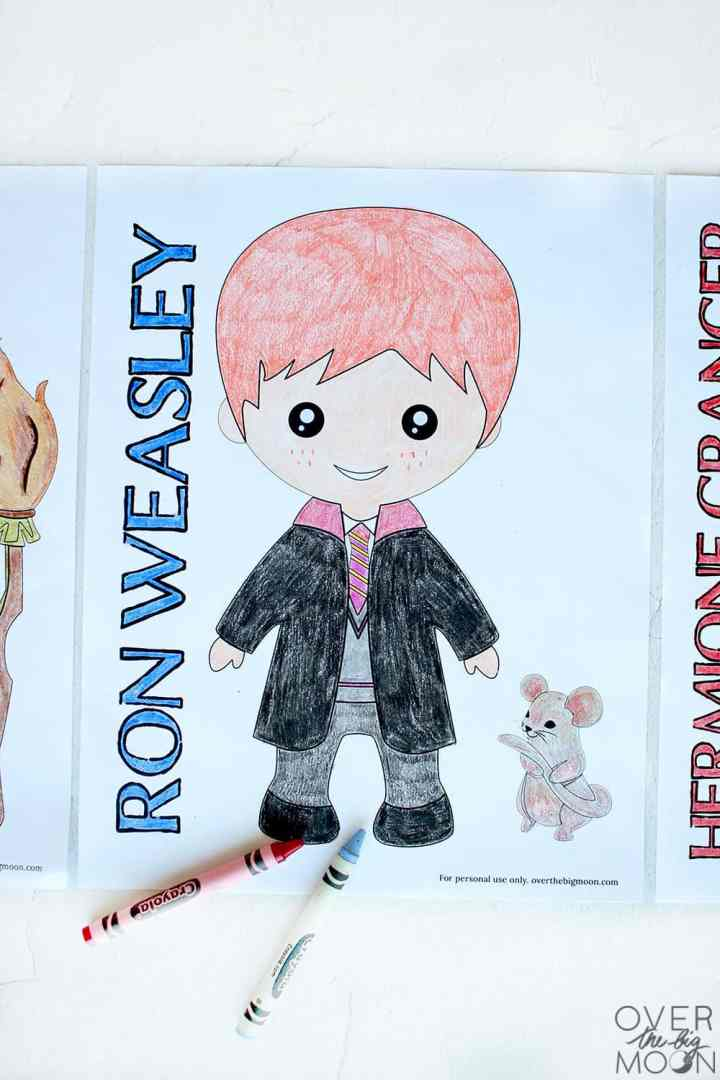 A colored coloring page of Ron Weasley.