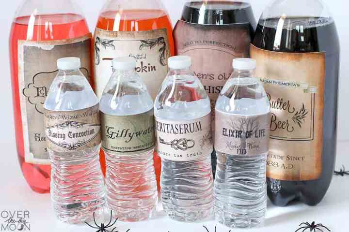 2 liter drinks and water bottles with Harry Potter drink labels on them.