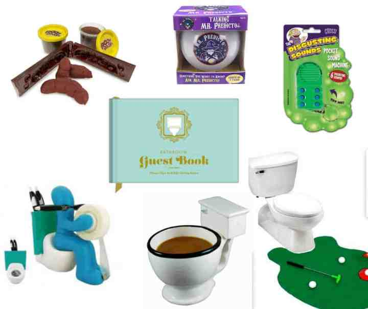A collage of white elephant gift ideas -- playdough poop, toilet coffee mug, bathroom guest book, magic 8 ball, gross noises key chain, toilet putter.