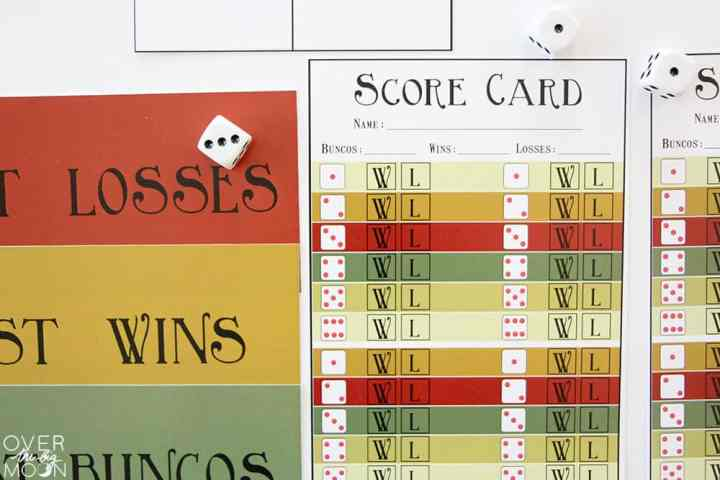 Printed most wins, most losses, most bunco tags next to Bunco Score Cards.