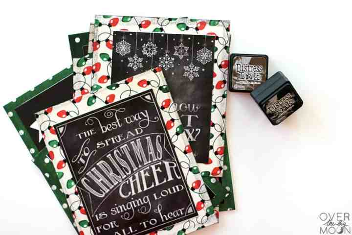 DIY Chalkboard Printables on cardstock with distress ink sitting to the side.