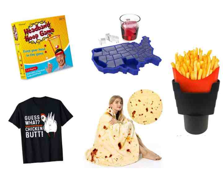 A collage of practical white elephant gifts -- a game, shirt, tortilla blanket, USA ice cube tray and fry holder for the car.