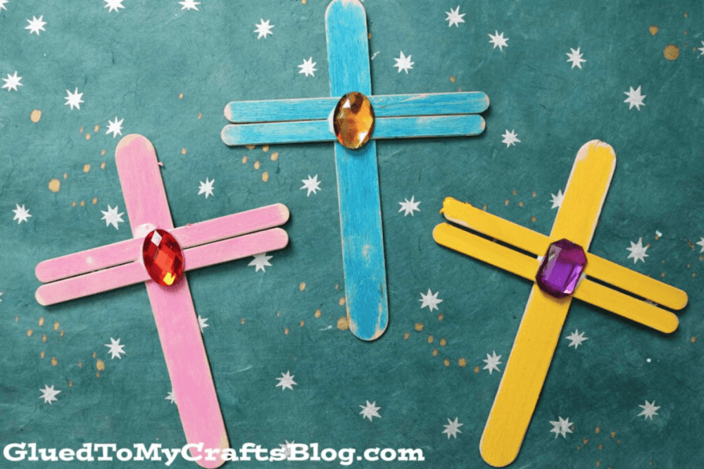 Crosses created using popsicle sticks and gems.