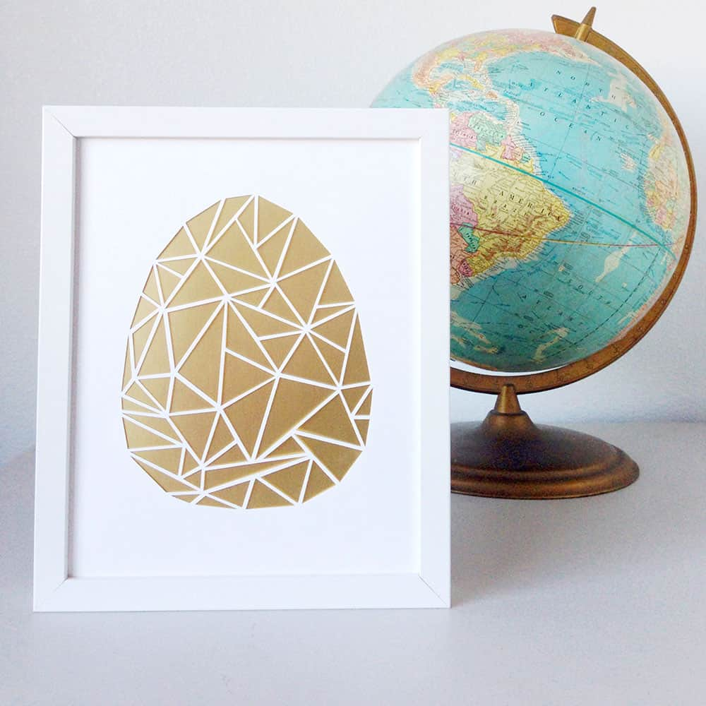 A fun Easter picture with an Easter egg that looks cracked on it. There is a globe behind the picture.