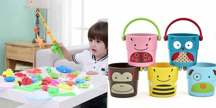 A collage of pool toys. On the left is a boy playing with a magnetic fishing game and on the right are 5 buckets themed like animals.