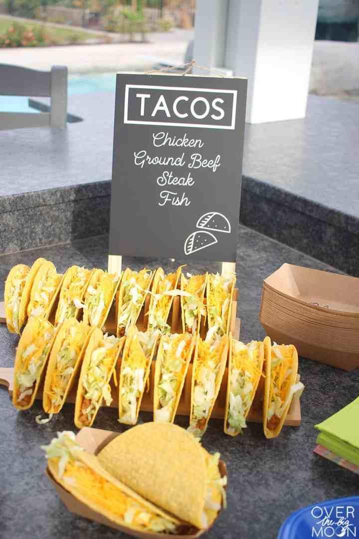 Tacos and a Taco Menu sign.