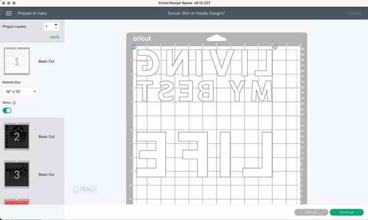 Screenshot of a cutting mat for Cricut.