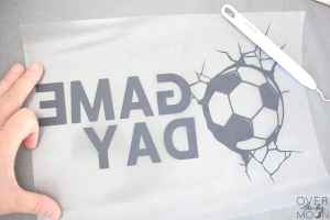 Weeding of an Iron On Soccer design.