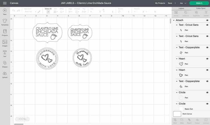 Screenshot of design space showing the designs of the Cilantro Lime Enchilada Sauce labels.