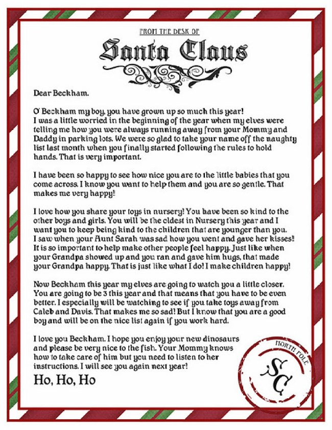 Example Letter to a child from Santa.