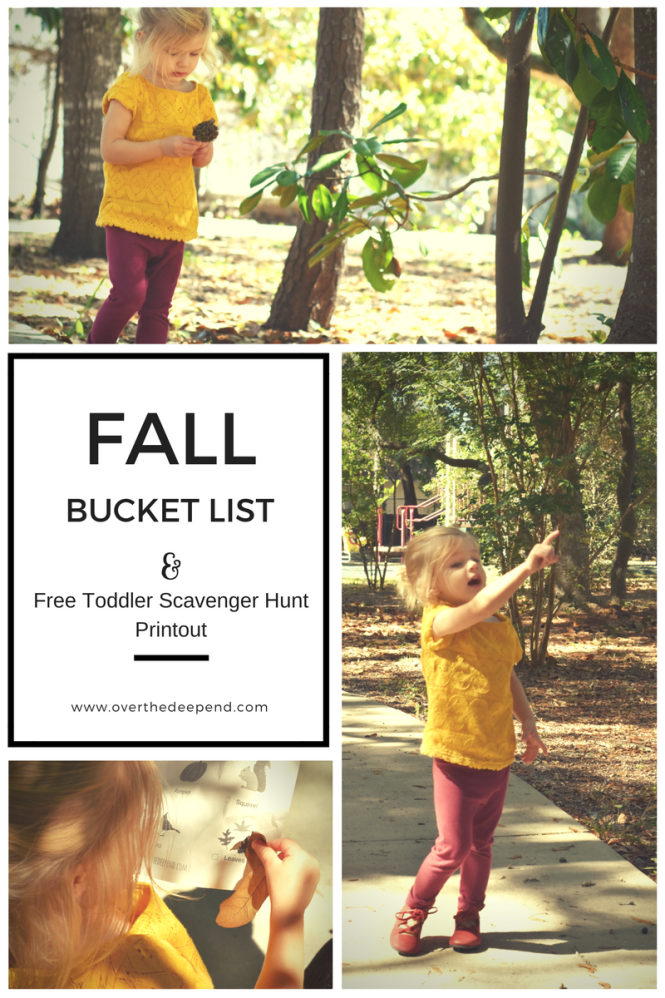 A toddler inspired fall bucket list and free toddler scavenger hunt printout.