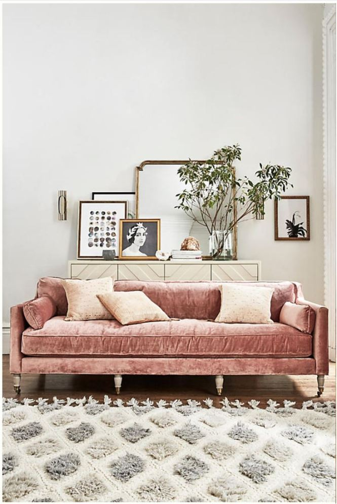 Pink Sofa living room, pink sofa in a living room, pink couch in a living room. Velvet sofa inspiration