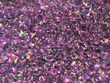 Le résultat du tri des pétales de rose de Bulgarie à la main chez Dammann Frères - ©Chloé Chateau