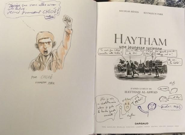 Dédicace de Haytham par Nicolas Hénin, Kyungeun Park et Haytham au Mans - ©Chloé Chateau