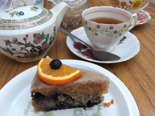 Gluten and dairy free orange and blueberry cake at Edith's House in Crouch End