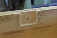 The lock mechanism mortise is cut, and layound out the baseplate mortise.