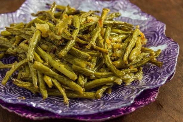 Roasted Onion Garlic Green Beans