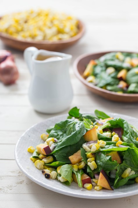 Grilled Corn, Peach and Spinach Salad