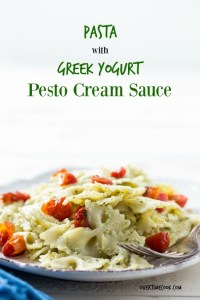 Pasta with Greek Yogurt Pesto Cream Sauce