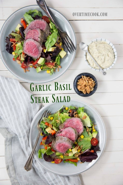 garlic basil steak salad on overtimecook