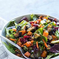 Maple Roasted Butternut Squash and Brussel Sprouts Salad