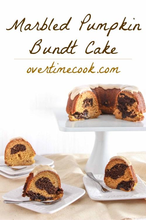 Marbled Pumpkin Bundt Cake on OvertimeCook