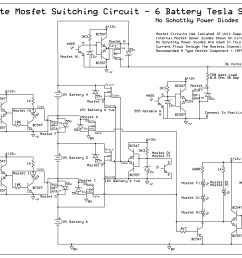 6 battery tesla switch power mosfet circuit uses no schottky completed 6 battery solid state tesla switch circuit diagram [ 3267 x 2241 Pixel ]