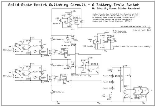 small resolution of 6 battery tesla switch power mosfet circuit uses no schottky completed 6 battery solid state tesla switch circuit diagram