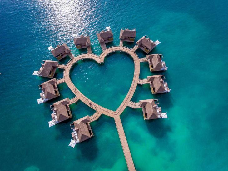 Overwater bungalows at Sandals south Coast, Jamaica.