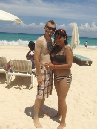 Shaun and Erica at Playa del Carmen