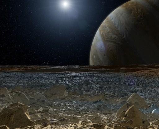 Europa, superfície, Júpiter, Sol