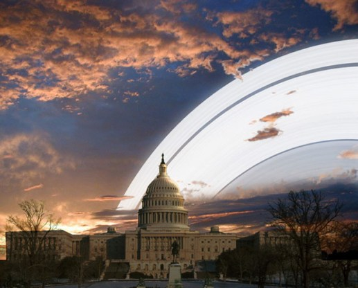 """From Washington, DC, the rings would """"dominate"""" the sky both during the day and at night:"""