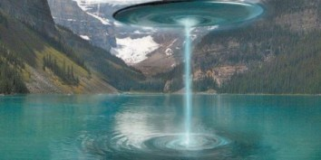 Ilustração de OVNI sobre reservatório de água na Argentina.