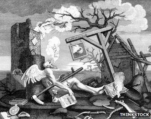 Ilustração do século XIII mostrando o fim do mundo