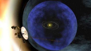 Concepção artística da sonda Voyager deixando a heliosfera. (NASA)