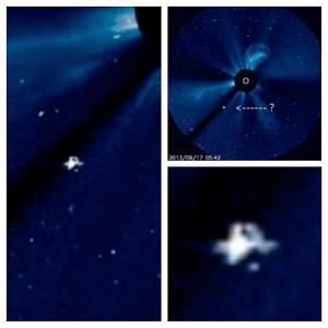 OVNI, UFO entre o Sol e o satélite SOHO