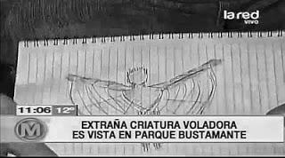 Desenho de estranha criatura que teria aparecido em Santiago do Chile