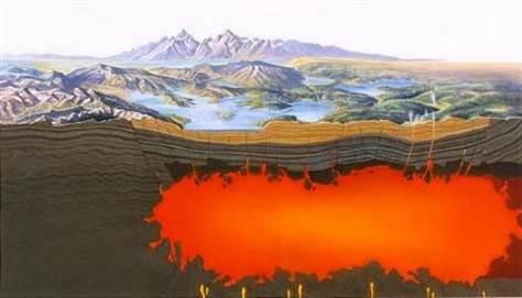 Super vulcão Yellowstone, os EUA.
