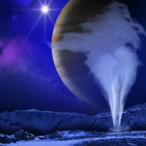 Renderização artística da superfície de Europa, uma das luas de Júpiter.