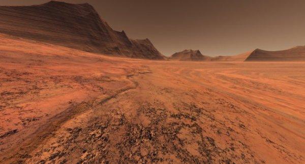 Mars crater plain