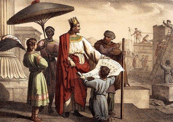 Rei Salomão supervisiona a construção de seu tempo.